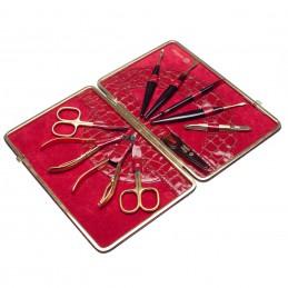 KROKO XL raudonas manikiūro rinkinys, natūralios odos dėklas Solingen - 1